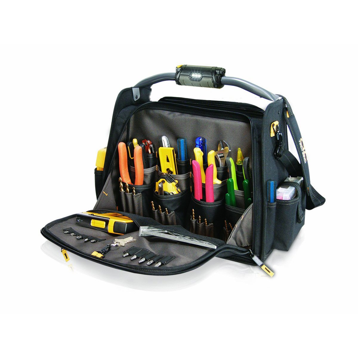 CLC Custom Leathercraft L245 18-Inch CLC Custom Leathercraft Tech Gear Dual Compartment Tool Carrier with LED Lighted Handle, 1-Pack  (Only bag)