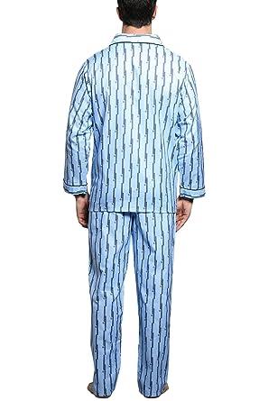 Dolamen Pijamas para Hombre Algodón, 2018 Hombre Pantalones de Pijama Largos Primavera Hombre Camisones Collar con Bolsillo con Botones Tamaño Más Grande ...
