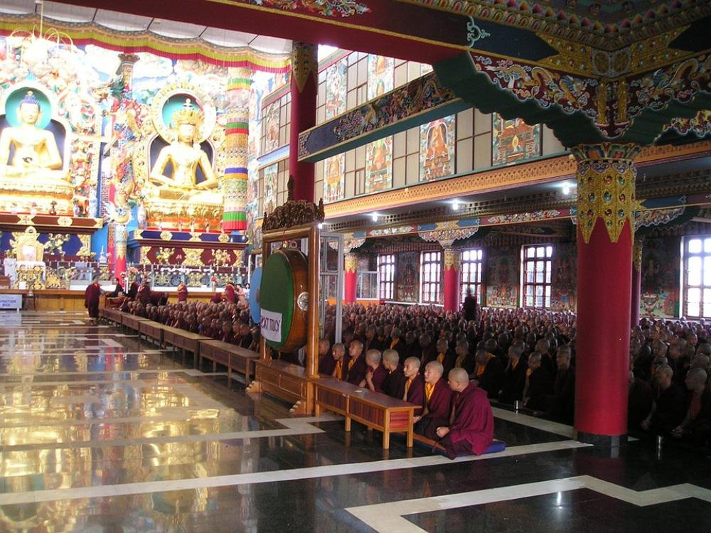 Gifts Delight LAMINATED 32x24 inches Poster: India Tibetan Temple Monastery Monks Pray Prayer Singing