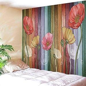"ENJOHOS Retro Wood Plank Flower Tapestry Wall Hanging Beautiful Lotus Wall Art for Bedroom Dorm Living Room Elegant Home Decor W79"" x T59"""