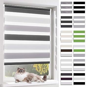 BelleMax Rollos für Fenster ohne Bohren Doppelrollo Klemmfix Klemmrollo  Verdunkelung für Kinderzimmer 40x150 cm Weiss Grau Anthrazit