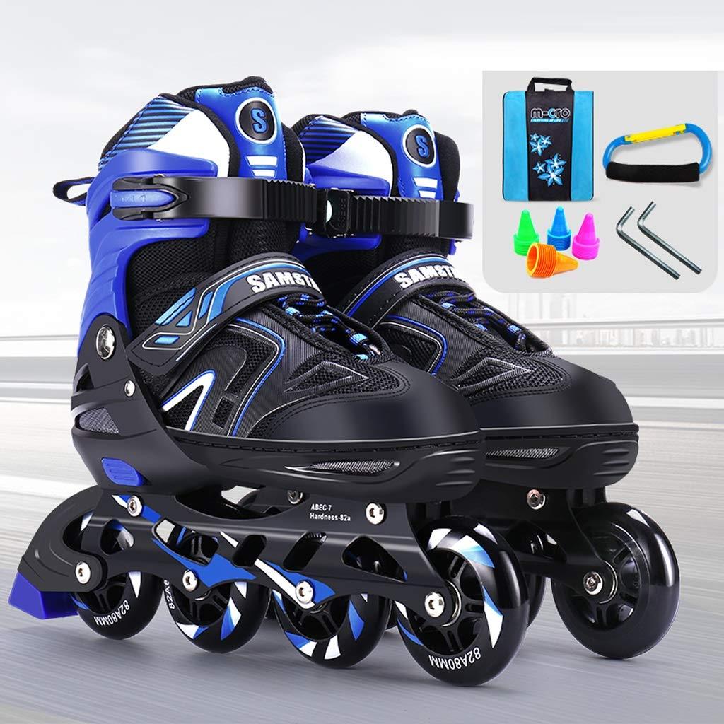 TKW 調節可能な子供インラインスケート、女性と男性の屋外インラインスケート、屋内娯楽初心者ローラーブレード、青赤 (Color : 青, Size : L (EU39-42)) 青 L ( EU39-42 )