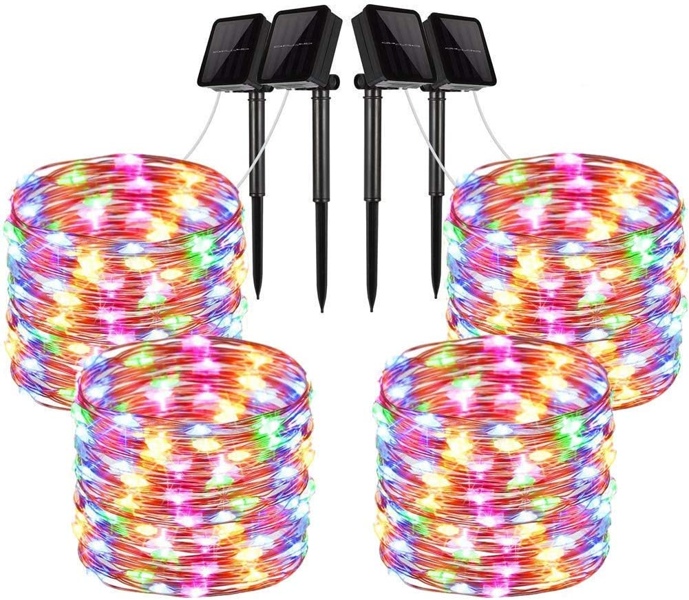 LiyuanQ Solar String Lights, 4 Pack 100 LED Solar Fairy Lights 33 feet 8 Modes Copper Wire Lights Waterproof Outdoor String Lights for Garden Patio Gate Yard Party Wedding Indoor Bedroom Multi Color