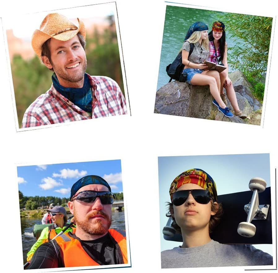 KALILY 12PCS Headband Bandana - Versatile Sports & Casual Headwear –Multifunctional Seamless Neck Gaiter, Headwrap, Balaclava, Helmet Liner, Face Mask for Camping, Running, Cycling, Fishing etc: Clothing