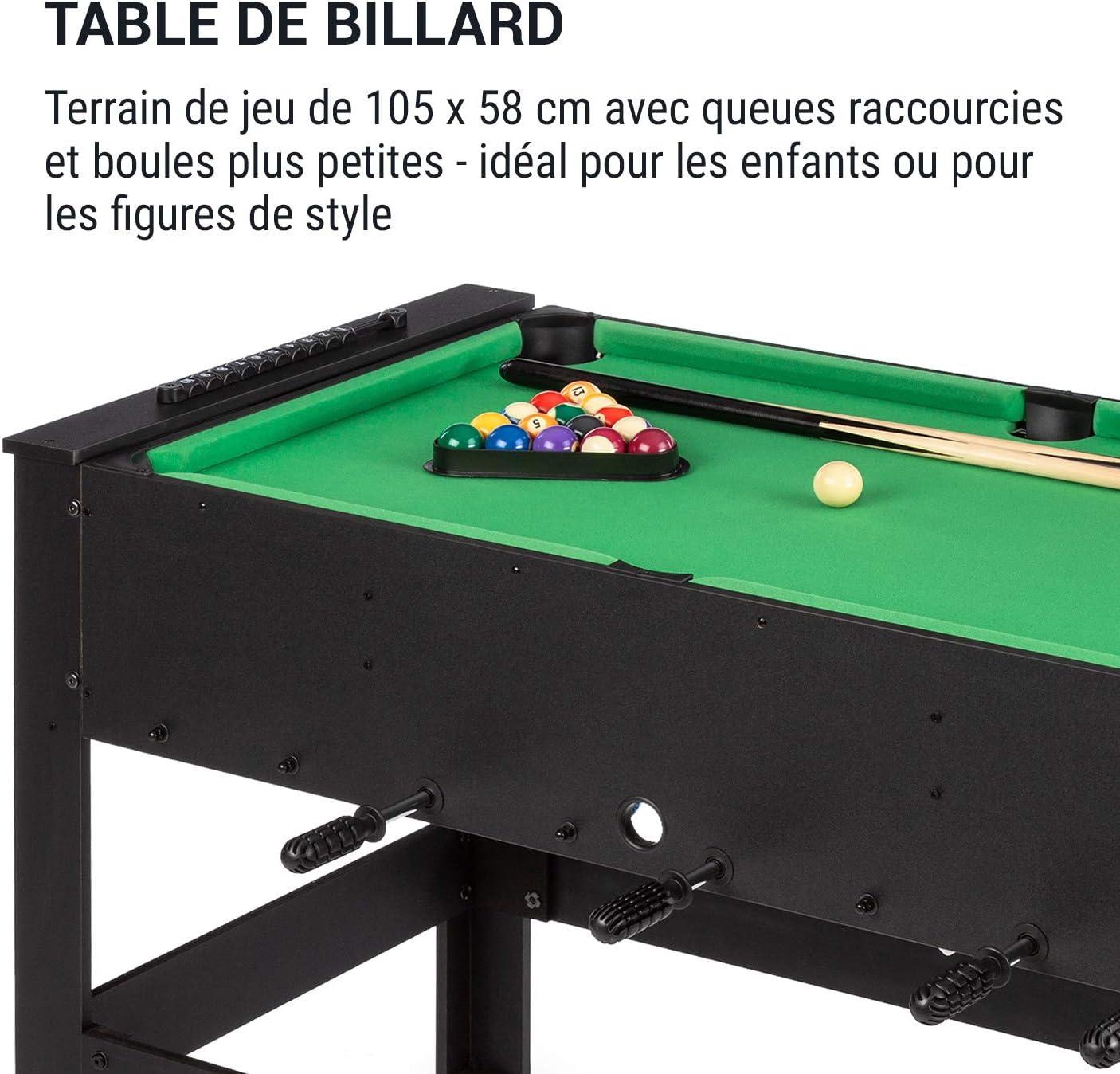 Klarfit Spin Table de jeu 2-en-1 accessoires de jeu inclus table de baby-foot fonction Spin: table tournante pour un changement rapide de jeu table de billard: 105 x 58 cm//couverture verte