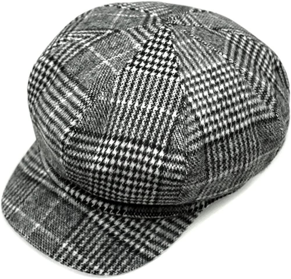 Locomo Women Newsboy Cap Check Houndstooth Tartan Plaid Pattern
