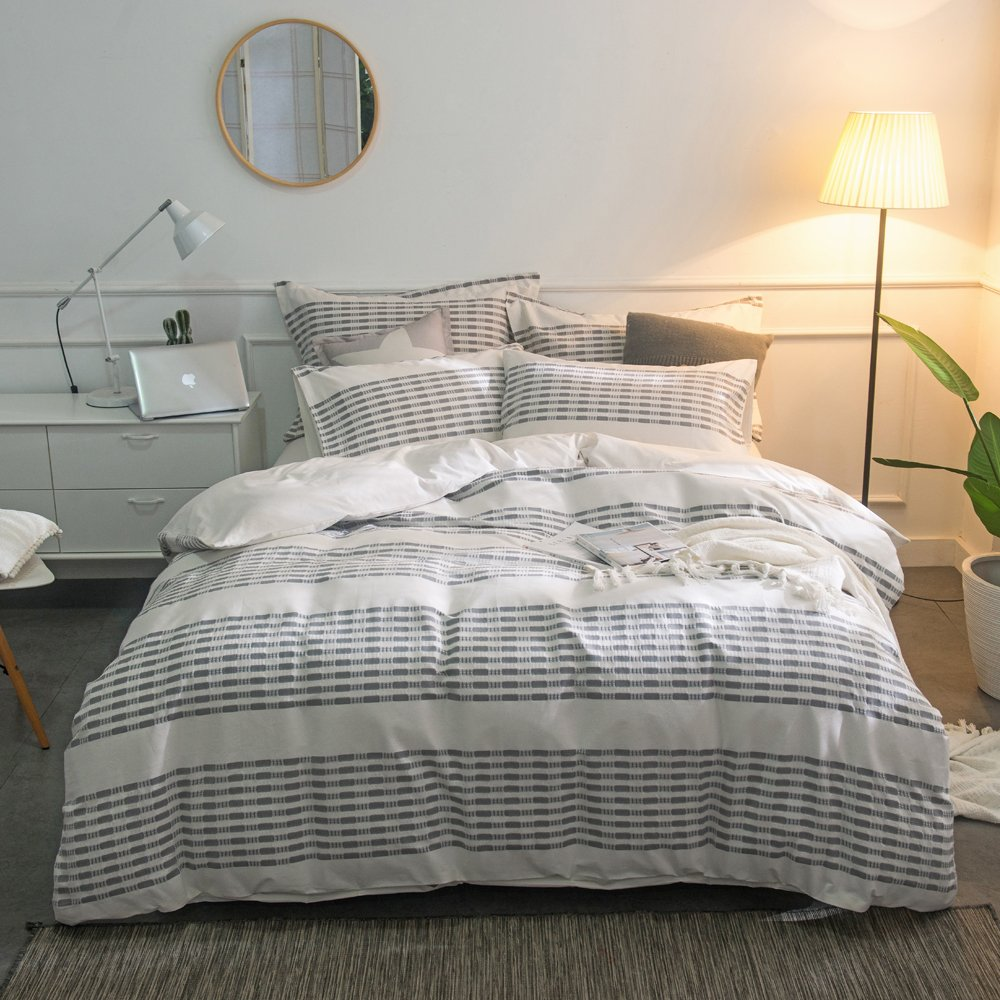 Merryfeel Cotton Duvet Cover Set,100% Cotton Yarn Dyed Stripe Duvet Cover Set - Full/Queen-Grey