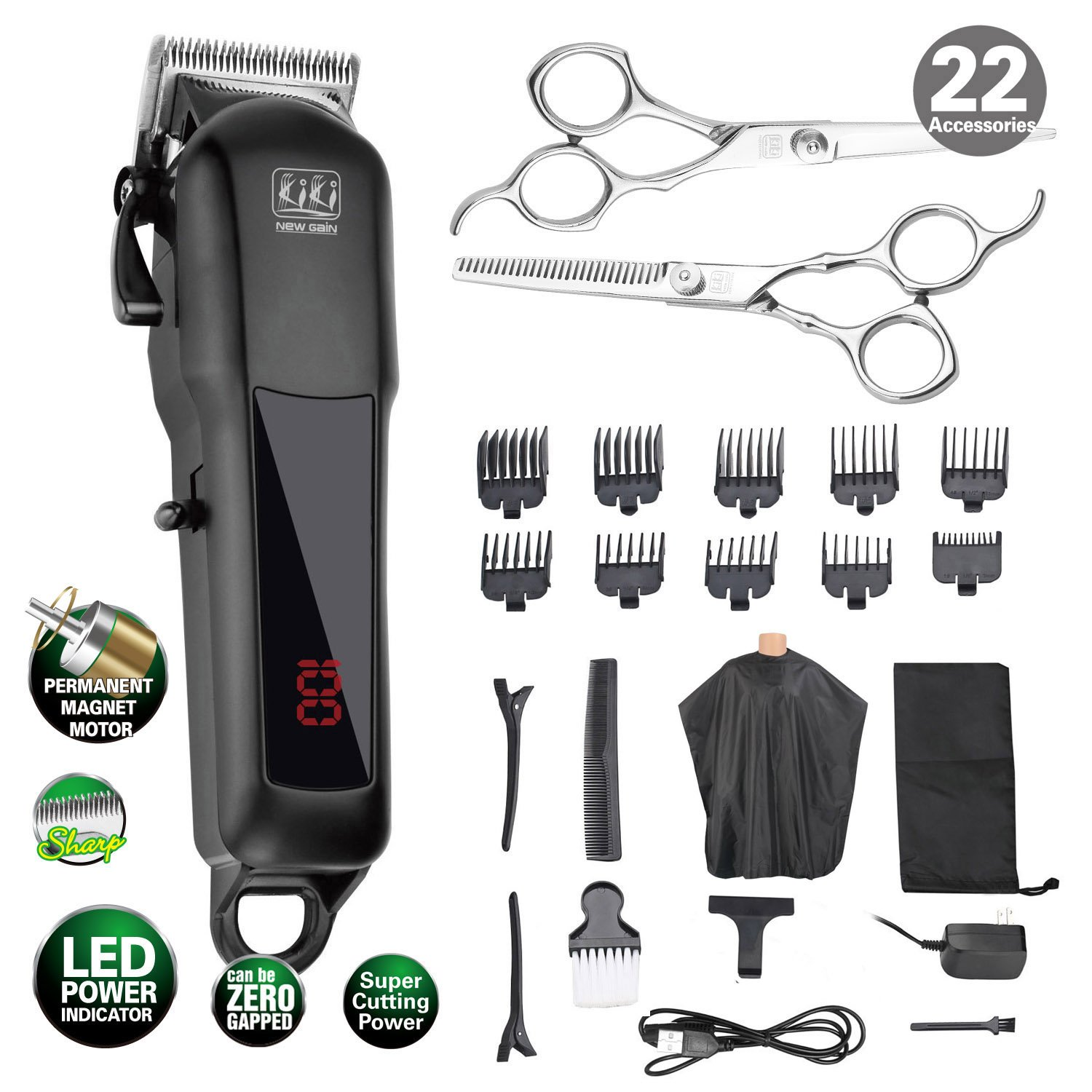 KIKI Cordless Rechargeable Hair Clippers Set Hair cutter LED display Professional Super Cutting Power, Lithium Battery(2000MAh) 22 accessories