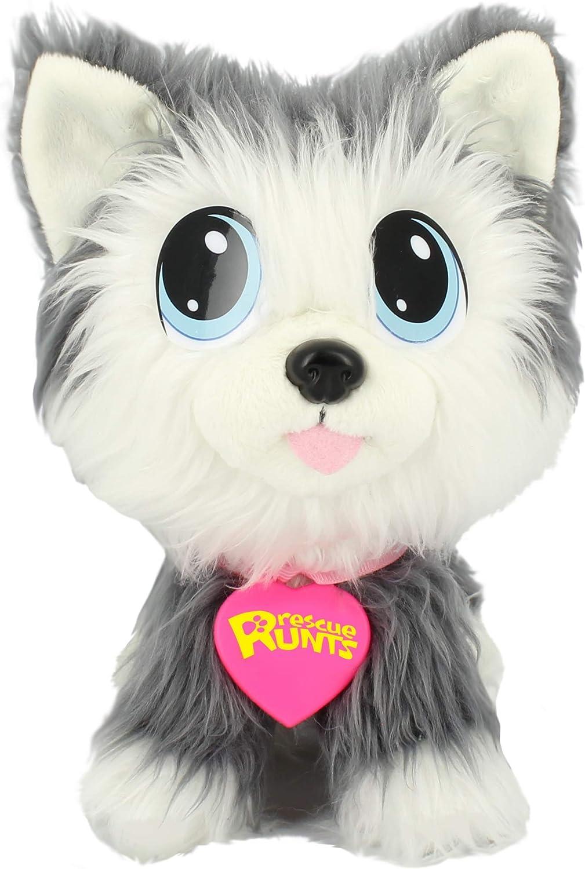 Bauer Juguetes Rescue Runts Husky (18010): tu Nueva Mascota para Adoptar, cuidar y amar Animales de Peluche, Gris y Blanco, Aprox. 23 cm.