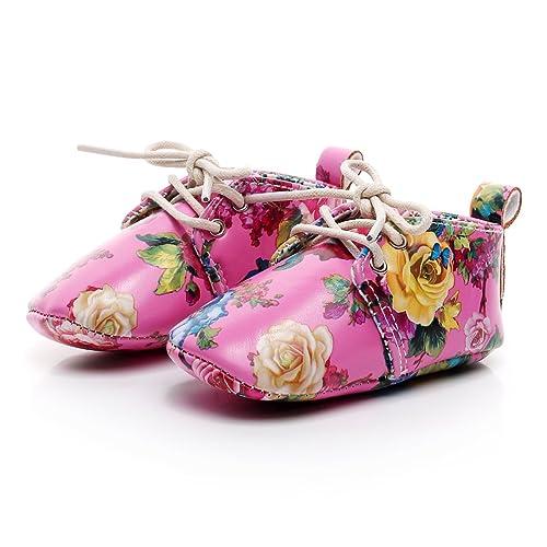 da706102277a HONGTEYA Print Flower Newborn Toddler Baby Moccasins PU Leather Anti-Slip  First Walker Baby Shoes