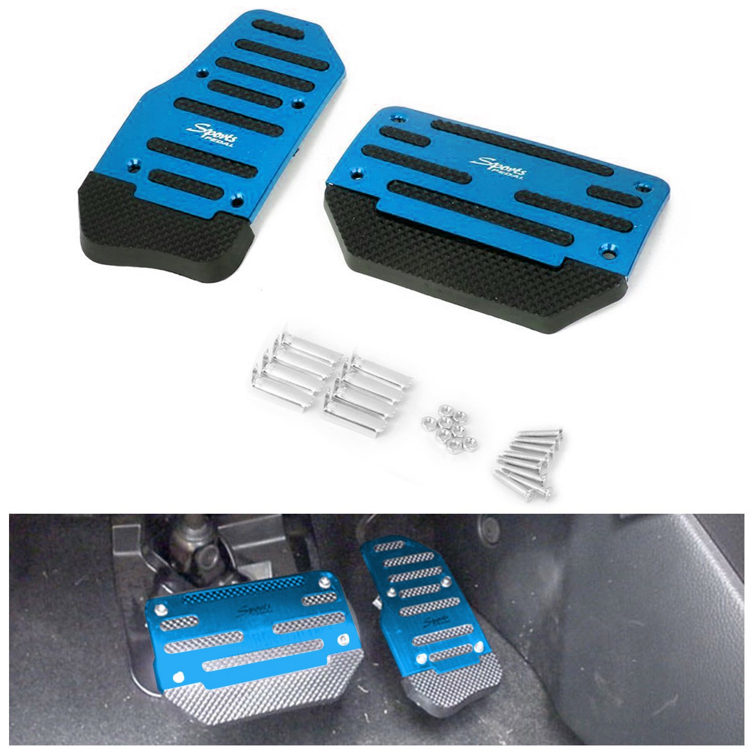 AUTOPDR slip Car Brake Accelerator Gas Pedals Pads Covers Foot Brake Extenders Cover Pad Automotive Kick Panels for Car Auto Vehicle Motorcycle Aluminium (Blue-automate)