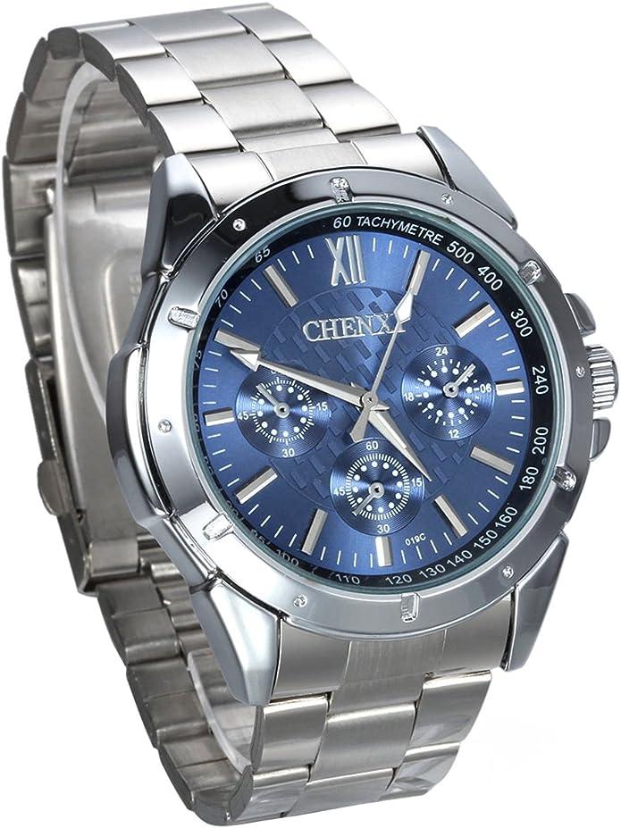 JewelryWe Hombre del Reloj, Display Azul Puntero de Plata, Plata Pulsera de Acero Inoxidable: Amazon.es: Joyería