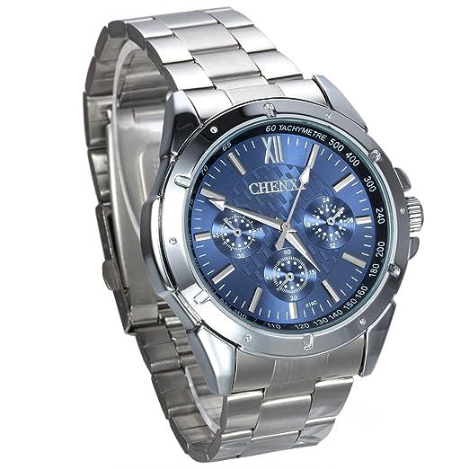 JewelryWe Hombre del reloj, Display Azul Puntero de plata, plata pulsera de acero inoxidable: Amazon.es: Relojes