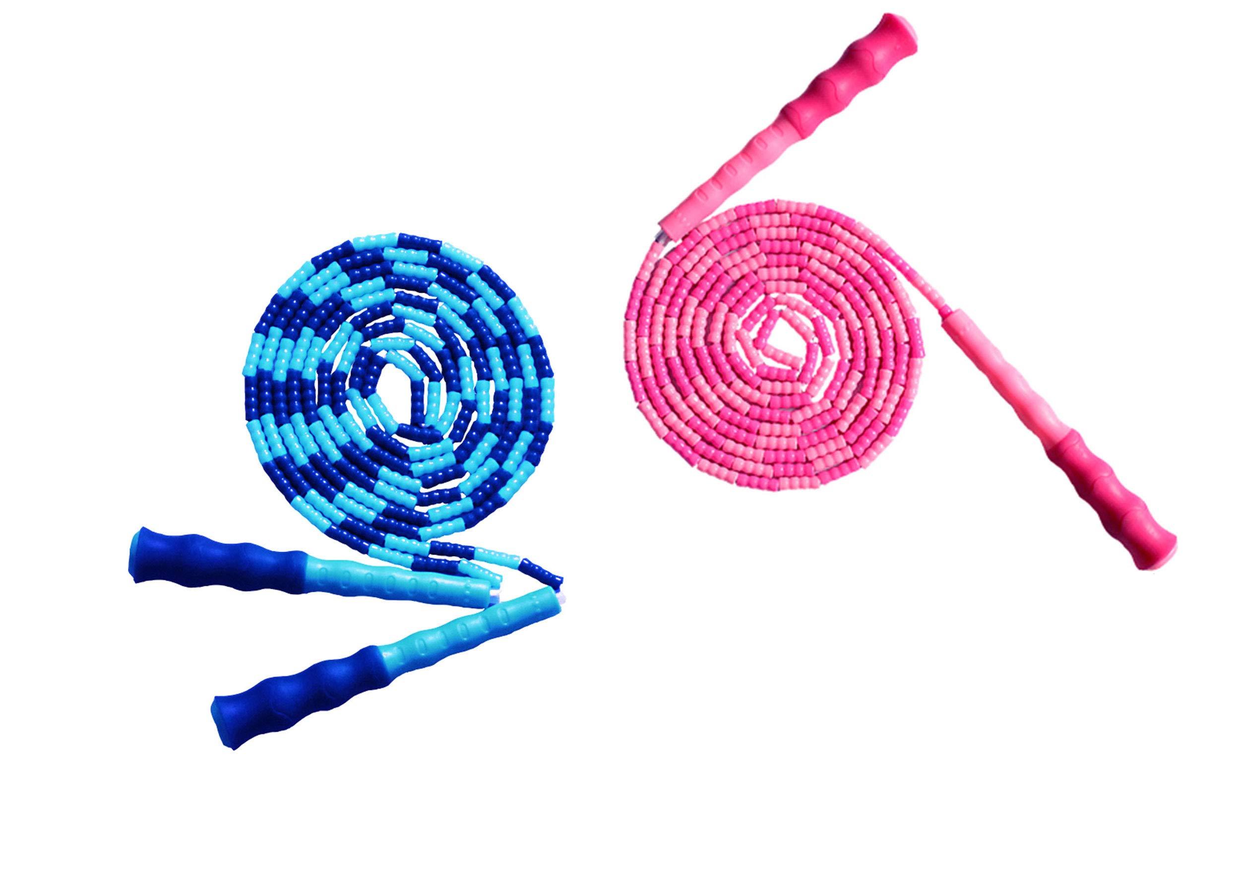 LETUSPORT 9 Feet Adjustable Beaded Segmented Jump Rope for Women Men Kids Lightweight Work Out Speeding Jumping Ropes (Blue+Pink, 2 pcs)