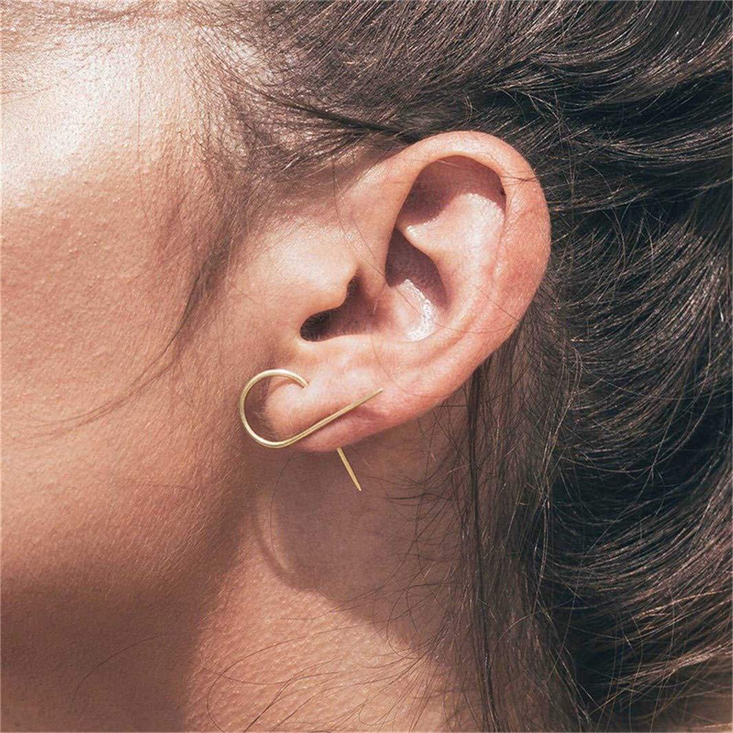Guoshang Earring Hook Irregular Stud Earrings Suspenders Textured Hook Studs Celebrity Jewelry Simple Elegant Women Jewelry Fashion Gifts