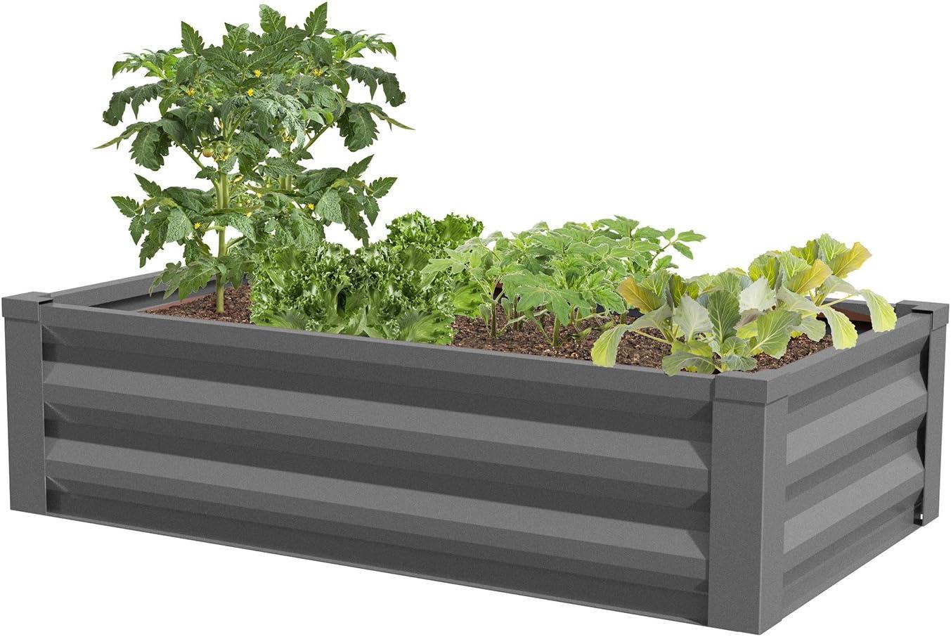 Greenes Fence Powder-Coated Metal Raised Garden Bed Planter 24 W x 48 L