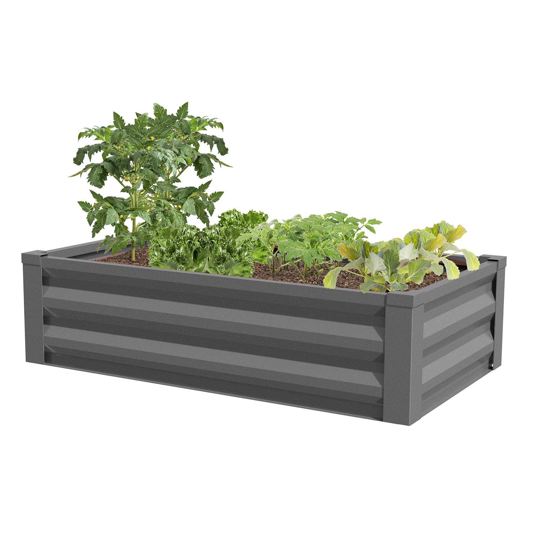 Greenes Fence Powder-Coated Metal Raised Garden Bed Planter 24'' W x 48'' L
