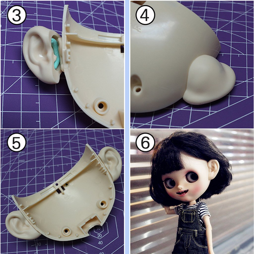 2 Pieces Resin Doll Ears Paste Set for 12inch Blythe Doll Elves Pointed Ears