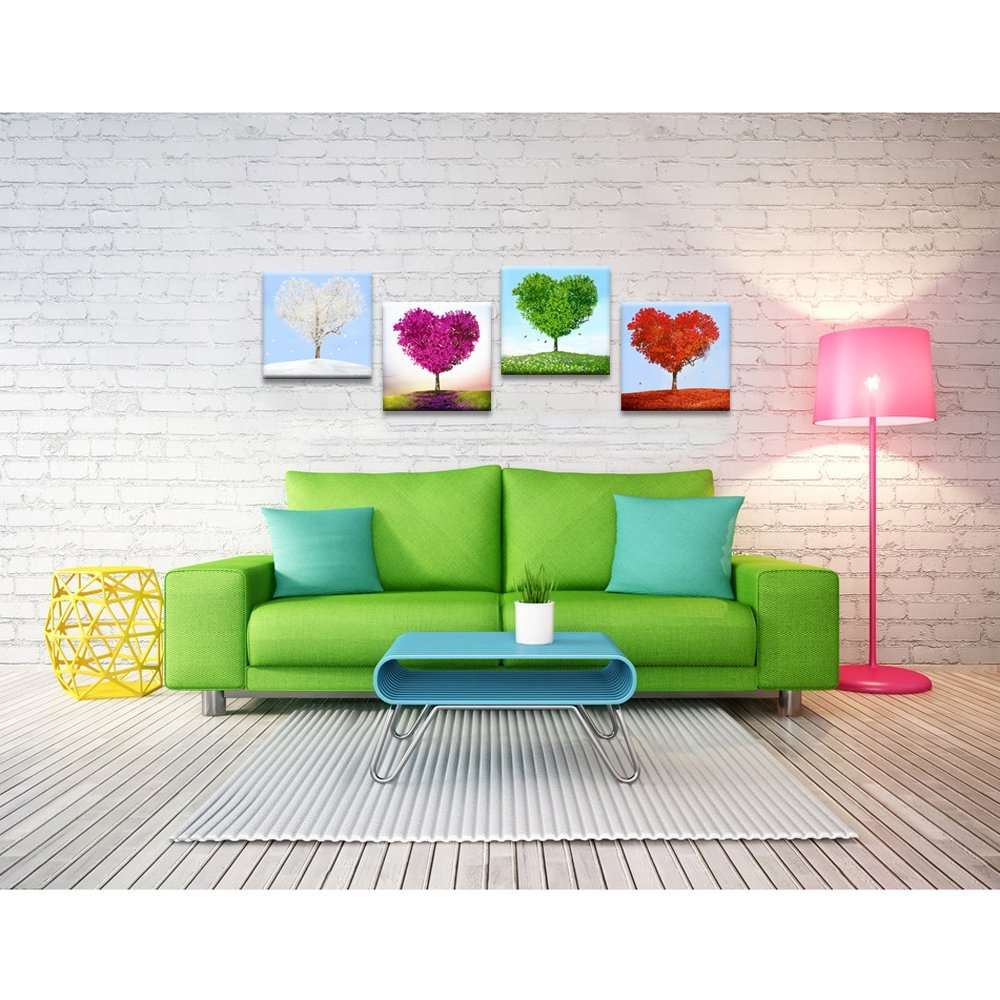 Ltd YC1905 4 Piece Canvas Wall Art,Love Heart Shaped Trees Picture Canvas Prints Nature Landscape Painting Giclee Artwork Printed,Romantic Home Bedroom Decoration Ready to Hang Sea Charm Trading Co 12X 12x 4 pcs Sea Charm