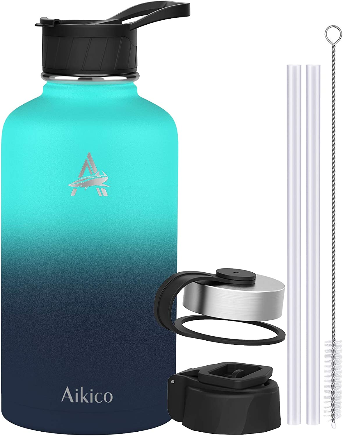 Stainless Steel Water Bottle with Straw Lid, 64oz Vacuum Insulated Sports Water Bottle, Wide Mouth Thermos Mug with Wide Handle Straw Lid and Cleaning Brush, Ocean