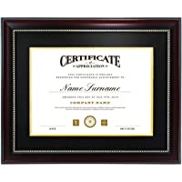 GGS 11x14 Inch Certificate Document Diploma Frame with Black Gold Double Mat for 8.5x11 Inch Picture & Real Glass