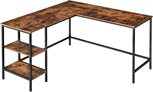 IBUYKE Industrial L-Shaped Computer Desk