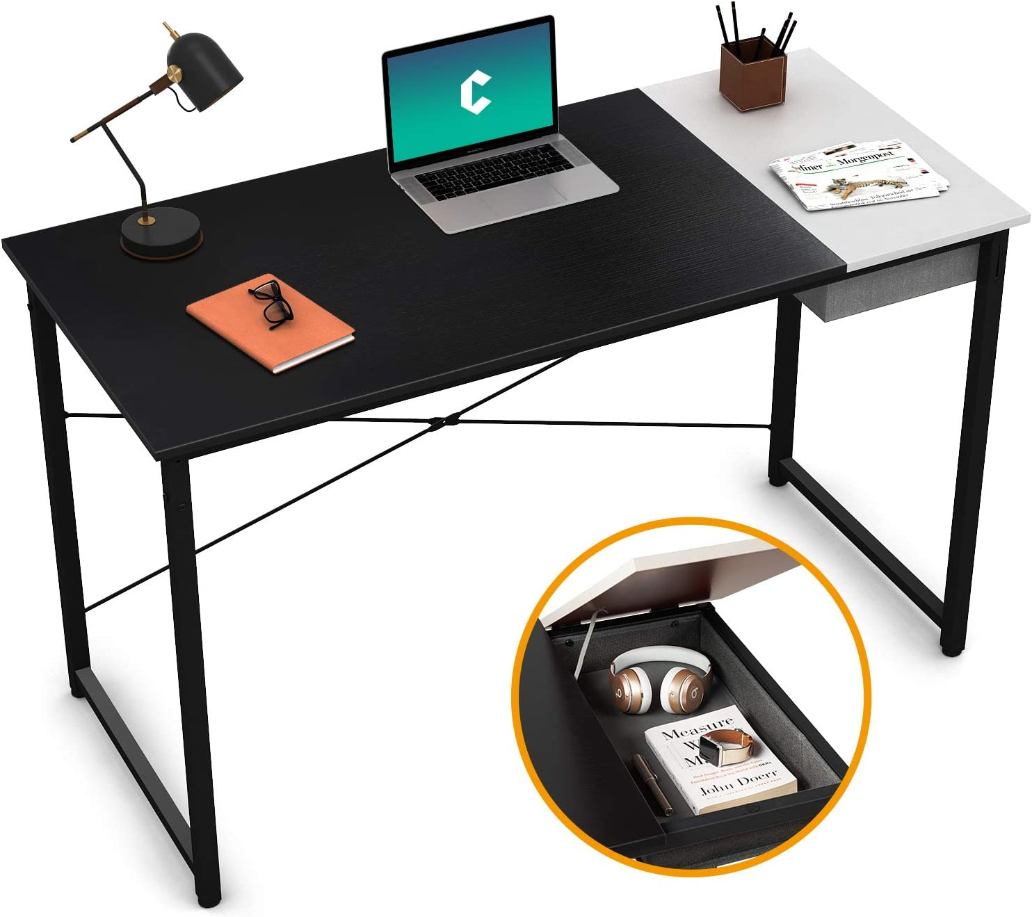 "Cubiker Computer Desk 47"" Home Office Writing Study Laptop Table, Modern Simple Style Desk with Drawer, Black White"
