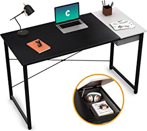 """Cubiker Computer Desk 47"""" Home Office Writing Study Laptop Table, Modern Simple Style Desk with Drawer, Black White"""