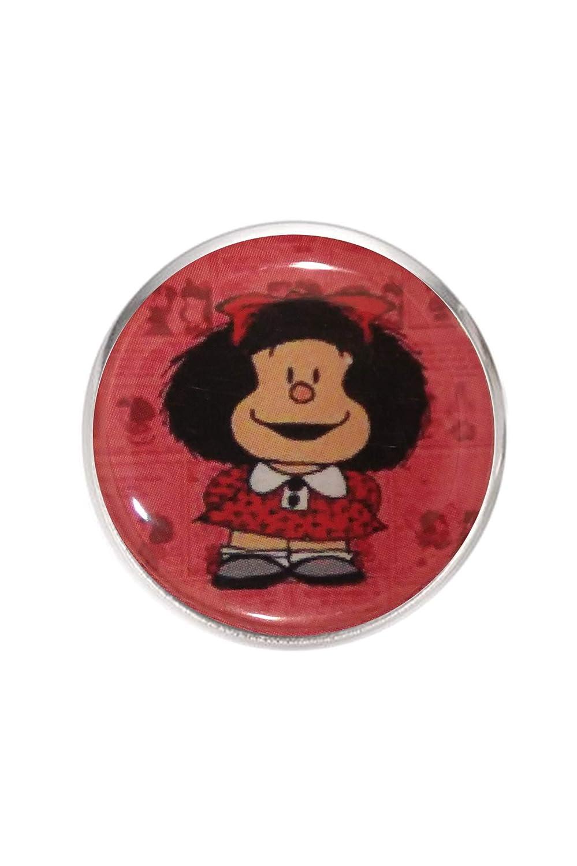 Hecho a Mano Ilustraci/ón Mafalda 3 Anillo de Acero,Ajustable,Bandeja 20mm