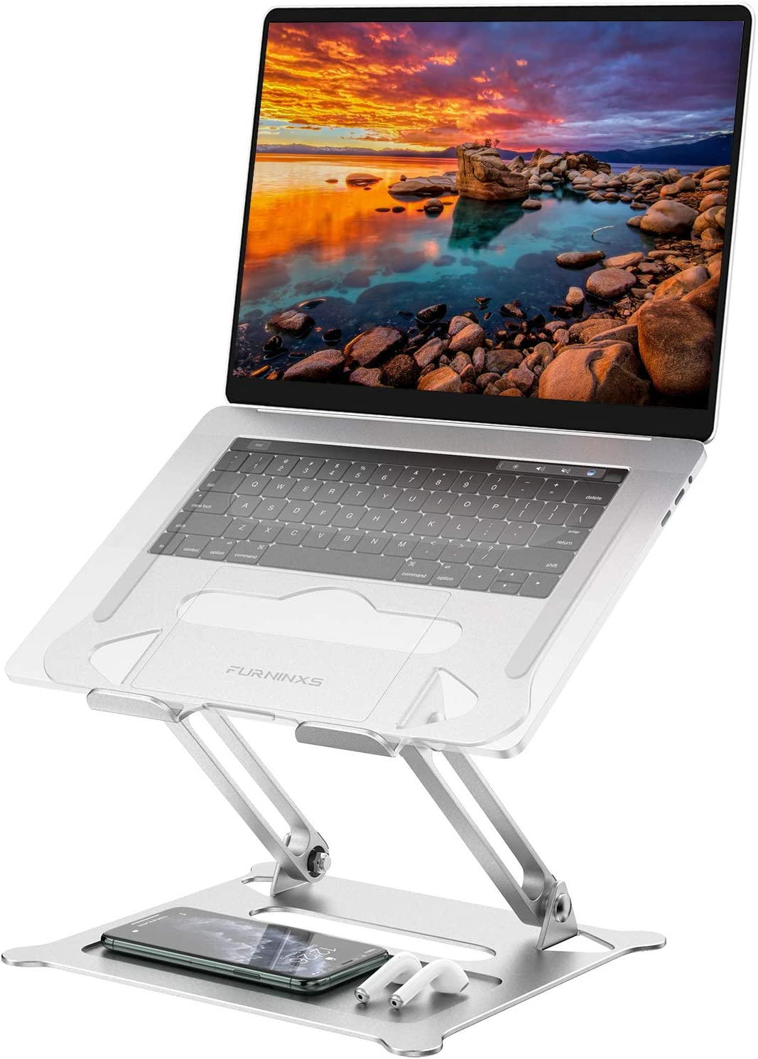 "Adjustable Laptop Stand, Ergonomic Notebook Computer Holder, Aluminum Foldable Riser Stand Compatible with 11"" to 17.3"" Laptop, MacBook, Air, Pro, Dell XPS, Samsung and Lenovo by FURNINXS (Silver)"