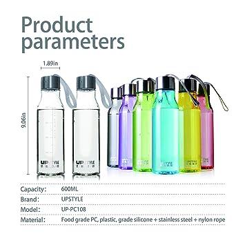 UPSTYLE creativo colorido transparente plástico botella para hacer deporte con cuerda de nailon sin BPA bebidas botellas de agua a prueba de fugas par taza ...