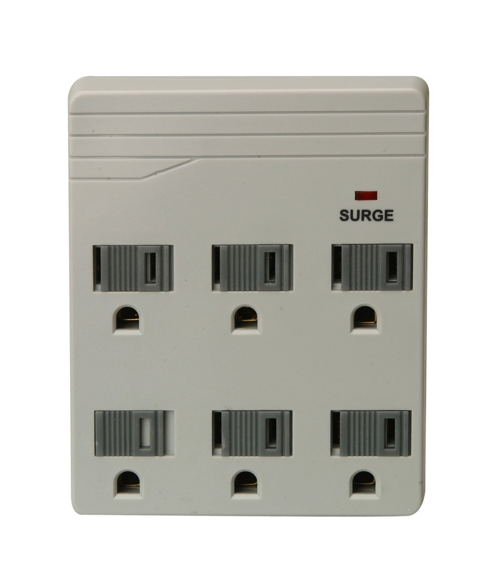 Woods 41152 6-Outlet Front Entry Surge Protector Wall Adapter, Light Grey