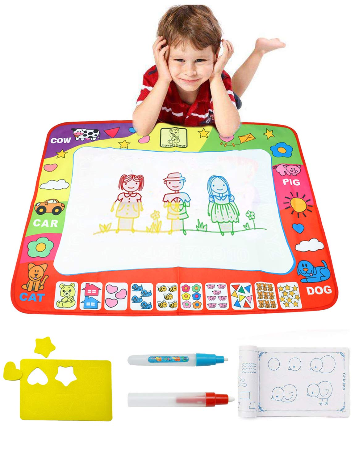 Miracliy Doodle Drawing Mat 4 Color Children Water Drawing Mat Board with 2 Magic Pens for Children Baby Toddlers Kids Boys Girls, 31.5 X 23.6 Inches
