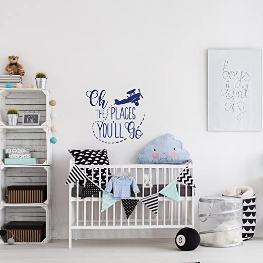 Oh the Places Youll Go Dr Seuss inspired Nursery Wall Decal Quote Crib Bedding Wall Art World Nautical travel map Bedroom