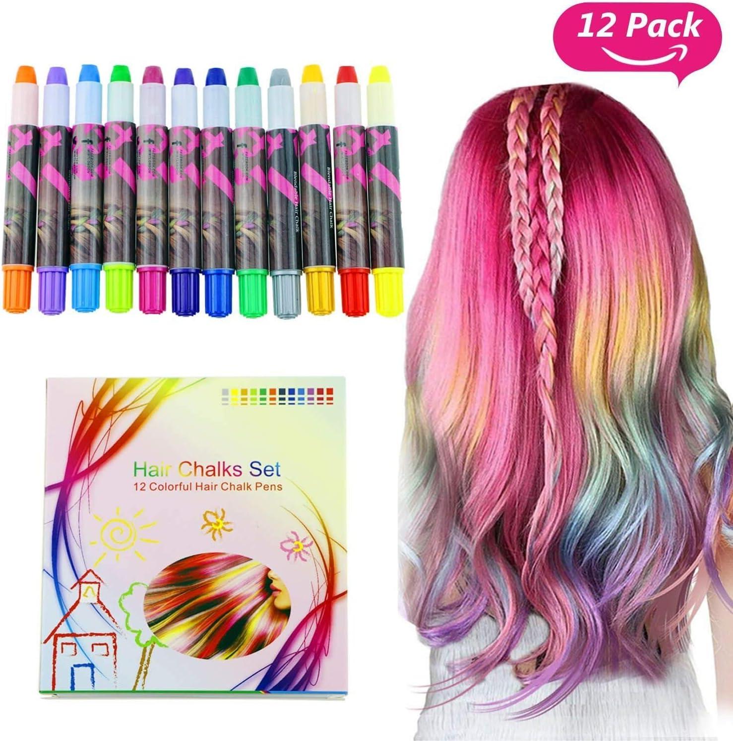 Buluri 12 colores Set de tiza para el cabello,Tinte para el cabello plumas de tiza profesionales para el cabello, plumas de tinte para el cabello - Funciona en todos los colores del cabello,Navidad