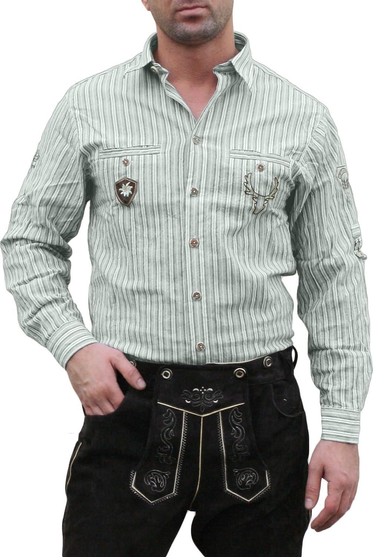 Trachtenhemd für Lederhosen mit Verzierung grün/gestreift