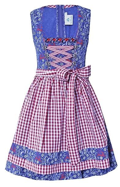 Kleid madchen blau rot