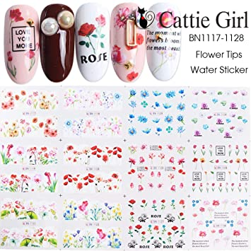 Cattie Girl Rose Peacock Butterfly Water Decals Nail Art Sticker Full Cover  Image Decals Nail Transfer