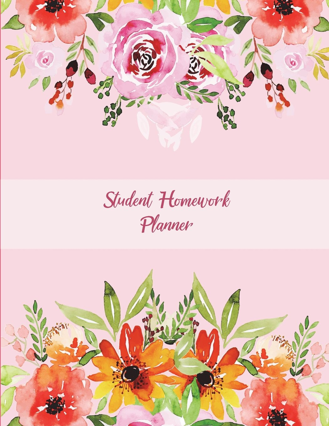 """Download Student Homework Planner: Pink Color Flowers, Kids Daily Planner Large Print 8.5"""" x 11"""" Fun To Do List, Back To School Clothes Checklist, Daily School ... Weekly Homework, Weekly Activity schedule pdf"""
