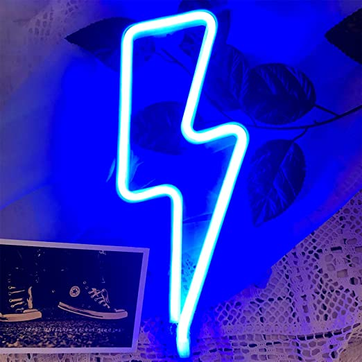 LED Lightning Bolt Neon Signs - Protecu USB Battery Operated Neon Light Sign for Room   Neon Wall Decor Lights for Girls Kids Bedroom Birthday Wedding Party Christmas Decorations (Blue)