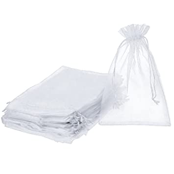 Shappy Pack of 50 Organza Gift Bags 7.9 by 11.8 Inch Drawstring Jewelry Candy Pouches for Wedding Birthday Party Favor Christmas Gift Wrapping (White)
