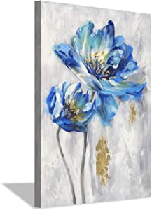 Hardy Gallery Blue Flowers Pictures Wall Art: Abstract Floral Artwork Wall Decor Print on Canvas (36