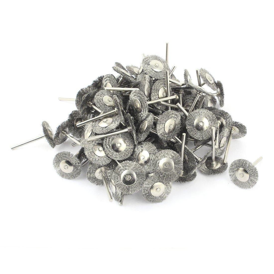 3mm v/ástago 25 mm Di/ámetro de alambre de acero pulido del cepillo de la rueda tono de plata 100 piezas