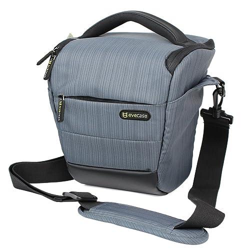 Evecase Compact DSLR Camera Holster Case Shoulder Bag for Canon, Nikon, Olympus, Pentax, Sony, Samsung Digital Cameras - Grey
