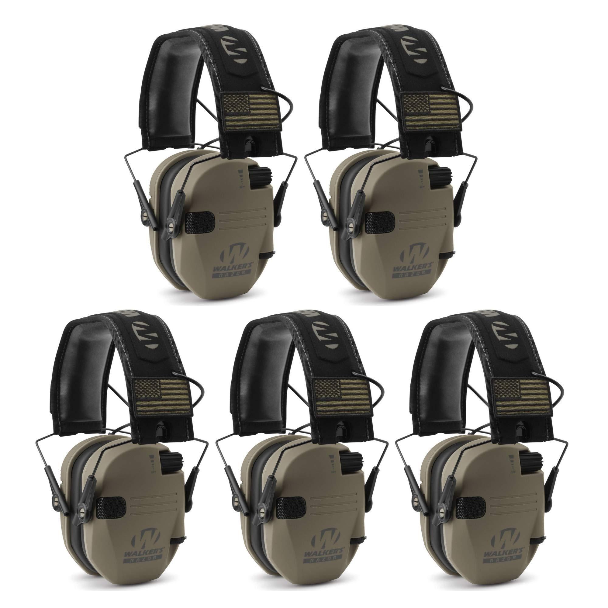 Walker039;s Razor Slim Electronic Shooting Muffs 5-Pack, Flat Dark Earth FDE (5 Items) by Walker's Game Ear