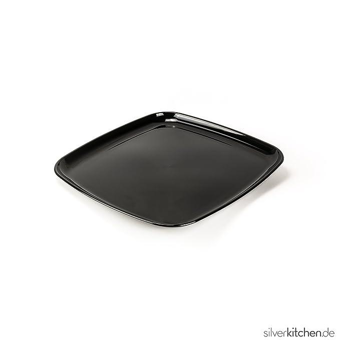Bandeja de servir, de alta Class de plástico, desechables - Negro, 40 x 40 cm, 25 unidades: Amazon.es: Hogar