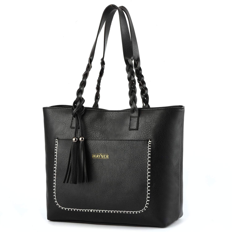 58a90b562ccbc Amazon.com: Women Tote Bags Retro Shoulder Bag Purse Satchel Hobo Purse  Zippred Waterproof Travel Handbags with Tassel (black): Shoes