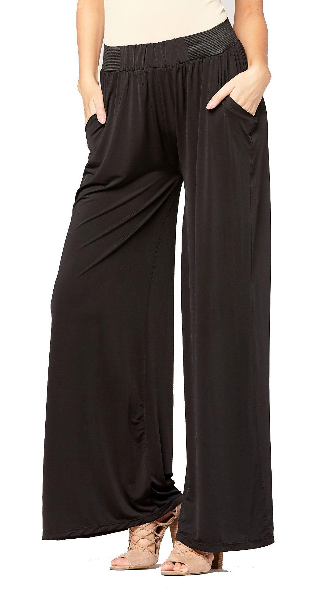 Conceited Palazzo Pants with Pockets in Several Colors and Printed Designs by (Solid Black)