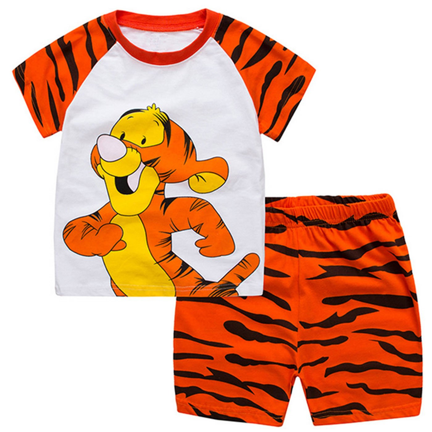 Kevin's Mart 68 Boys Pajamas Dinosaur and Tiger Little Kid Shorts Set 100% Cotton Sleepwear Toddler PJS