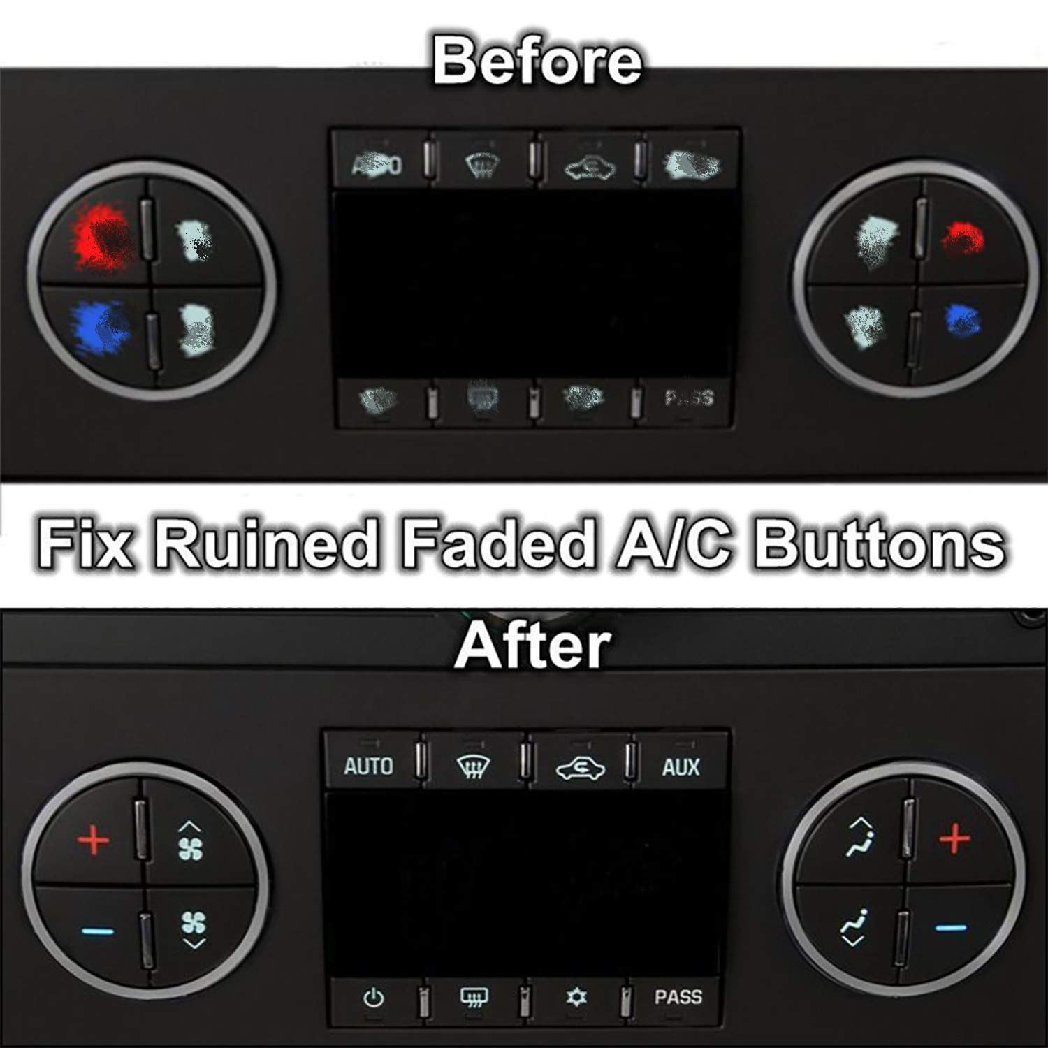Fullsexy 2 Pack AC Dash Button Sticker Repair Kit for 2007-2013 GM GMC Chevy Chevrolet 2009-2012 Buick Saturn Decals Sticker PVC Fix Ruined Faded A//C Controls